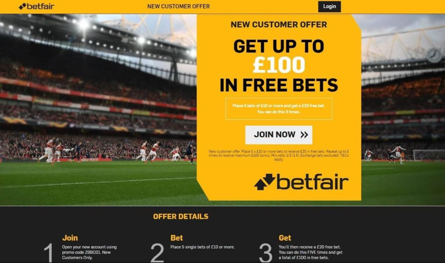 Betfair Bonus Iniziale €20 + €100 in più a quota